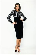 Boat Neck Striped Polyester Stretch, Bodycon Women's Dresses