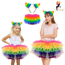 Girls Full Rainbow Dash Costume Rainbow Tutu & Rainbow Head Band For Fancy Dress