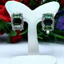 NATURAL GREEN TOURMALINE & WHITE CZ EARRINGS 925 STERLING SILVER