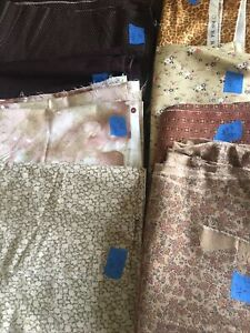 Lot of 8 Earth Tones Calico  Ditzy Quilting Craft Prints Over 7 yds