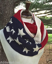 SCARF Infinity Flag double wrap red ivory blue thick knit reversible NWT 56 x14