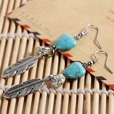 Womens Silver Heart Earrings Turquoise Drop Dangly Boho Tibetan Women Gift Ideas