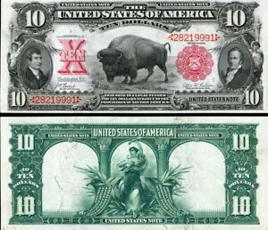 1901 $10  BUFFALO  US Banknote, Large size, RED seals, Buffaloes!  Buffalo Bill