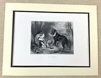 Edwin Landseer Antique Engraving Print The Friends Young Boy Dog Painting 1880