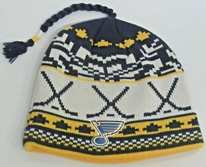 NHL St. Louis Blues Multi-Color OSFA Cuffless Knit With Braided Top By Reebok