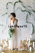 Simple Spaghetti Sexy Chiffon Beach Wedding Dress Boho Bridal Gown Custom 10 12+