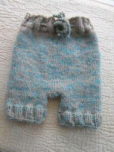 "Baby Diaper Cover Wool Soaker Heavy Knit Prewashed Lanolized Oatmeal Aqua 20"""