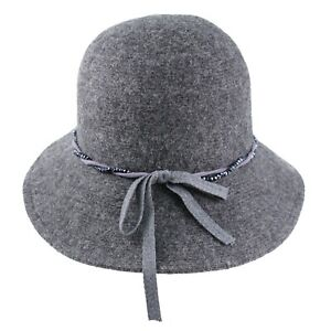 Beads Twisted Ribbon Wool Dressy Cloche Bucket Church Warm Winter Hat Women