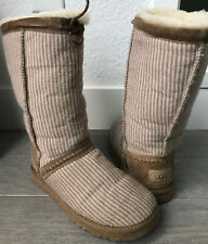 UGG Australia Classic Tall Wool Knit Striped Boots Cream & Brown Size 8