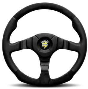 Genuine Momo Dark Fighter 350mm black leather and alcantara steering wheel.
