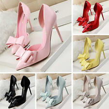 Sexy Women Bowknot Pointed Toe Stiletto High Heels Office Lady Work Pumps Shoes