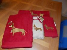 4 Dachshund Dog Holiday Christmas Towels - Red Linen BATH - FINGERTIP - HAND NWT