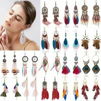 Retro Style Summer Handmade Feather Tassel Boho Long Hook Earrings Women Gift