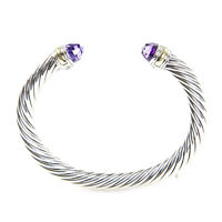 DAVID YURMAN Womens Cable Classic Bracelet with Amethyst & 14K Gold 7mm $775 NEW