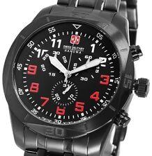 Herren Armbanduhr Schwarz Black Chronograph Edelstahl Swiss Military UVP 698 €