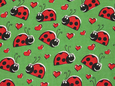RED LADYBUGS ON GREEN BUG INSECT NATURE 100% COTTON FABRIC HALF YARD