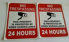VIDEO SURVEILLANCE CCTV Security Decal  8.5x11 Sticker (24hr)set of 2 pcs