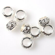 100x Bulk Charms Bangle Style Silvery Tone Alloy Spacer Beads Fit Bracelet 7x5mm