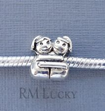 Charm Bead Sisters. Hug. Fits European Charm Bracelet or Necklace. C134