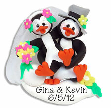 Penguin WEDDING  Personalized Ornament HANDMADE Polymer Clay by Deb & Co.