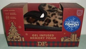 Dearfoams Gel Infused Memory Foam Slippers Ladies XL 11-12 Leopard New NIB