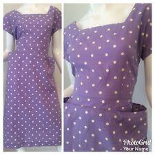 Vintage 50's 60's Purple White Polka Dot Casual Day Dress Rockabilly S/M