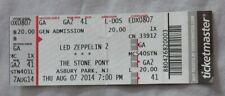 Led Zepplin Concert Ticket Stub Asbury Park Nj 8/7/14 2014