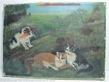 Old Three Kittens in the Wild Painting oil on canvas nicely detailed cats forest