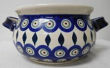 POLISH POTTERY BEAN POT SOUP 2 HANDLE DOUBLE BOLESLAWIEC HAND MADE POLAND F E2