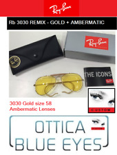 Occhiali da Sole RAYBAN rb 3030 Aviator Riccio AMBERMATIC Ray Ban Sunglasses ARM