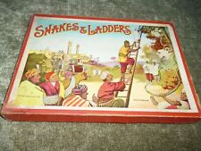 Vintage Boxed Snakes Ladders Board Game Turban Temple Indian Children c1930s