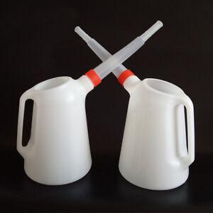 5 Litre  Garage Oil Fuel/Oil Measuring Jug With Flexible Spout Oil Can Oilcan t~