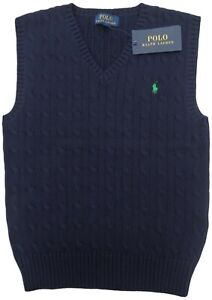 RALPH LAUREN boys Navy V neck TANK TOP 10/11Y Vest fine knit cotton