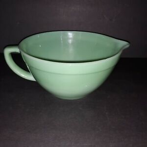 Fire King Oven Proof Vintage Jadeite Glass Batter Mixing Bowl With Handle