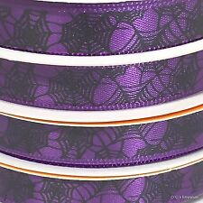 Halloween Ribbon Lot of 4 Purple With Black Spider Webs 3/8 inch x 9 feet