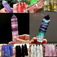 NATURAL Fluorite Amethyst Point Pink Crystal Quartz Healing Hexagonal Wand aa