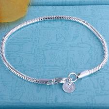 Wholesale Solid Silver Jewelry Lovely Snake Chain Woman Men Bracelet 3MM HB187