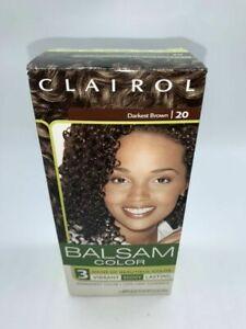 Clairol Balsam 20 Darkest Brown Hair Color Vibrant Shiny Lasting 100% Gray Cover