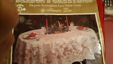 """Scranton """"Season's Greetings"""" style weave RED Holiday tablecloth 54 x 70 New"""