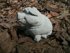 "Cute! Cement 5 1/2"" Pig Little Piggy Garden Statue Weathered Concrete Precious"