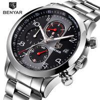 BENYAR Men's Aviaor Quartz Watch Chronograph Waterproof Stainless Steel Band Box