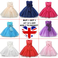 Girl Bridesmaid Dress Baby Flower Kids Party Rose Bow Wedding Dresses Princess z
