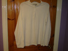 Men's New Medium Europe 3 Cream Victorious Round Neck Cotton Long Sleeved Top
