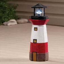 Solar Lighted Oceanside White & Red Lighthouse Outdoor Garden Statue