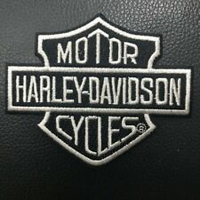 Harley Davidson Bar And Shield Black Silver Iron On/Sew On Patch Embroidered