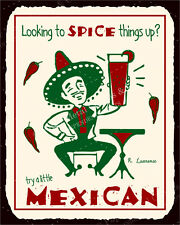 (VMA-L-6552) Try A Little Mexican Spice Vintage Metal Mexican Retro Tin Sign