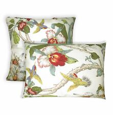 ai05a Lily Red Ocean Blue Green Lime Pink on Cream Cotton Fabric Cushion Cover