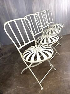 2 French Bistro Chairs, Art Deco Antique Style Sunburst Folding Chairs Patio