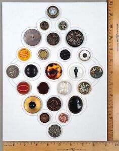 Card of 25 Assorted Antique to Modern BUTTONS #2, Various Types, Ages, Materials