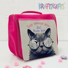 Personalised Funny Grumpy Cat Pink Hanging Wash Toiletries Travel Bag ST827